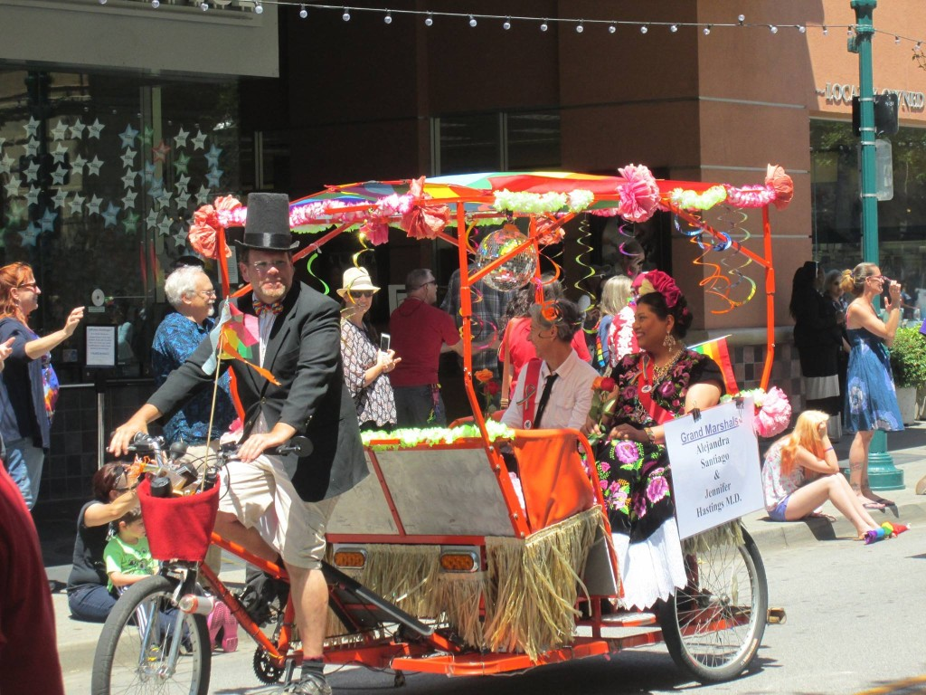 orange pedicab advertising front view summer look