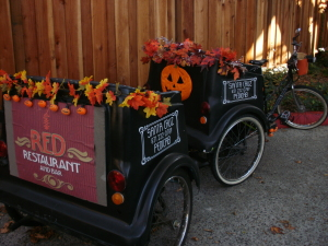 Our Black trailer cab decked out for fall/Halloween.
